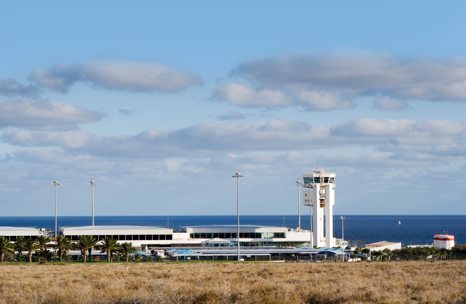 'airport Lanzarote with traffic control center, Spain' - Lanzarote